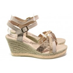 Дамски сандали от естествена кожа Marco Tozzi 2-28346-22 розов | Немски сандали на платформа | MES.BG