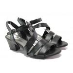 Анатомични дамски сандали от естествена кожа Jana 8-28312-22 черен | Немски сандали на ток | MES.BG