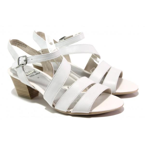 Анатомични дамски сандали от естествена кожа Jana 8-28312-22 бял | Немски сандали на ток | MES.BG