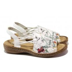Анатомични дамски сандали Rieker 628D1-90 бял ANTISTRESS | Немски чехли и сандали | MES.BG