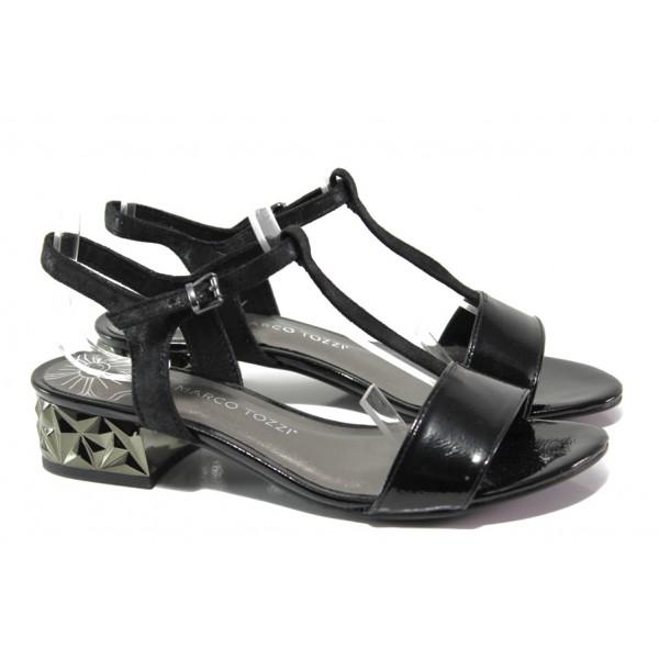 Комфортни дамски сандали Marco Tozzi 2-28209-22 черен | Немски сандали на ток | MES.BG