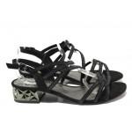 Дамски велурени сандали Marco Tozzi 2-28210-22 черен | Немски сандали на ток | MES.BG
