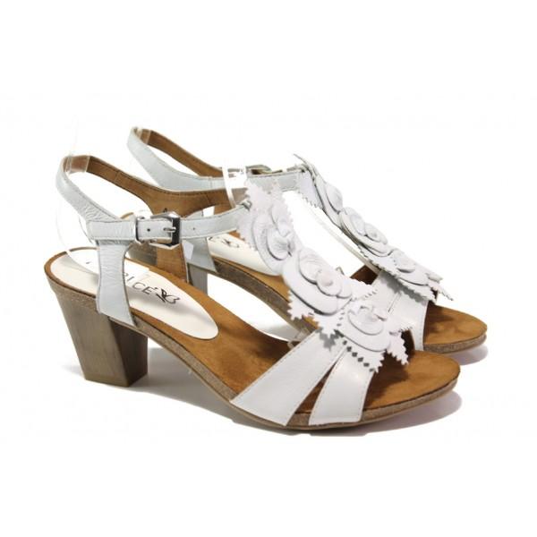 Дамски сандали от естествена кожа Caprice 9-28306-22 бял | Немски сандали на ток | MES.BG
