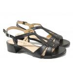 Дамски сандали от естествена кожа Caprice 9-28201-22G черен | Немски сандали на ток | MES.BG
