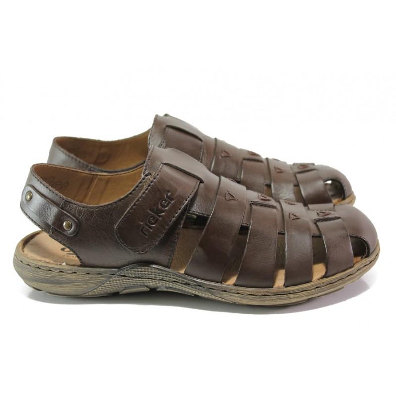 25e890675b7 Мъжки сандали от естествена кожа Rieker 22074-25 кафяв ANTISTRESS | Немски мъжки  обувки | MES.BG