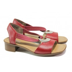 Дамски сандали от естествена кожа Rieker 62662-33 червен ANTISTRESS | Немски сандали на ток | MES.BG