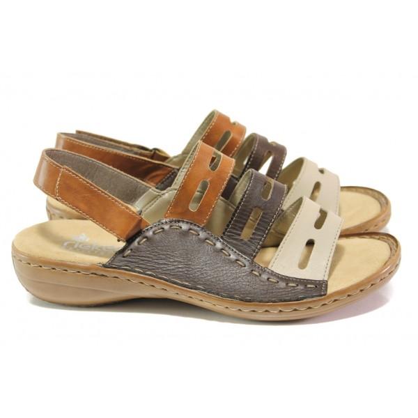Дамски сандали от естествена кожа Rieker 60815-60 кафяв ANTISTRESS | Немски равни сандали | MES.BG
