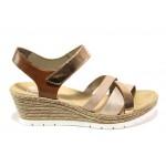 Комфортни дамски сандали Rieker 61900-90 розов металик | Немски сандали на платформа | MES.BG