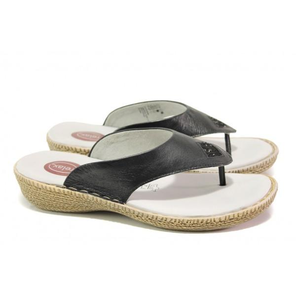 Дамски чехли от естествена кожа Jana 8-27113-22H черен RELAX | Немски чехли и сандали | MES.BG