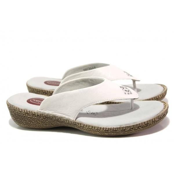 Дамски чехли от естествена кожа Jana 8-27113-22H бял RELAX | Немски чехли и сандали | MES.BG
