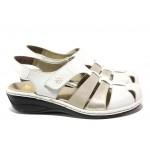 Дамски обувки от естествена кожа Rieker 47778-80 бял ANTISTRESS | Немски равни обувки | MES.BG