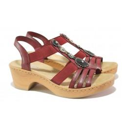 Комфортни дамски сандали Rieker V28S8-35 червен ANTISTRESS | Немски сандали на ток | MES.BG