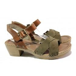 Дамски сандали от естествен набук Remonte D6955-54 зелен | Немски сандали на ток | MES.BG