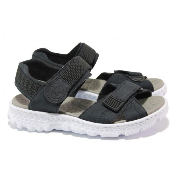Равни дамски сандали с велкро лепенки Rieker 67853-14 т.син ANTISTRESS | Немски чехли и сандали | MES.BG