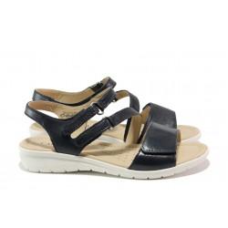 Дамски сандали от естествена кожа Caprice 9-28153-22 т.син | Немски равни сандали | MES.BG