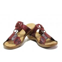 Комфортни дамски чехли с велкро лепенка Rieker 608R4-35 червен ANTISTRESS | Немски чехли и сандали | MES.BG