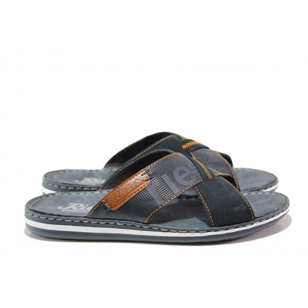 Мъжки чехли от естествена кожа Rieker 21098-14 син ANTISTRESS | Немски мъжки обувки | MES.BG