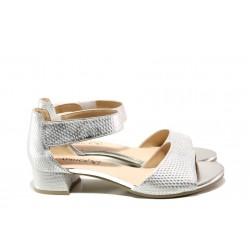 Дамски сандали от естествена кожа Caprice 9-28212-22 сребро | Немски сандали на ток | MES.BG