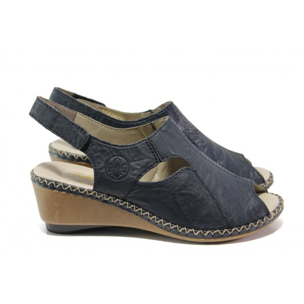 Ортопедични дамски сандали от естествена кожа Rieker 66150-14 син ANTISTRESS | Немски сандали на платформа | MES.BG