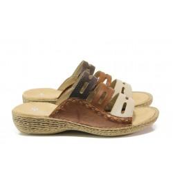 Дамски чехли от естествена кожа Rieker 65835-60 кафяв ANTISTRESS | Немски чехли и сандали | MES.BG