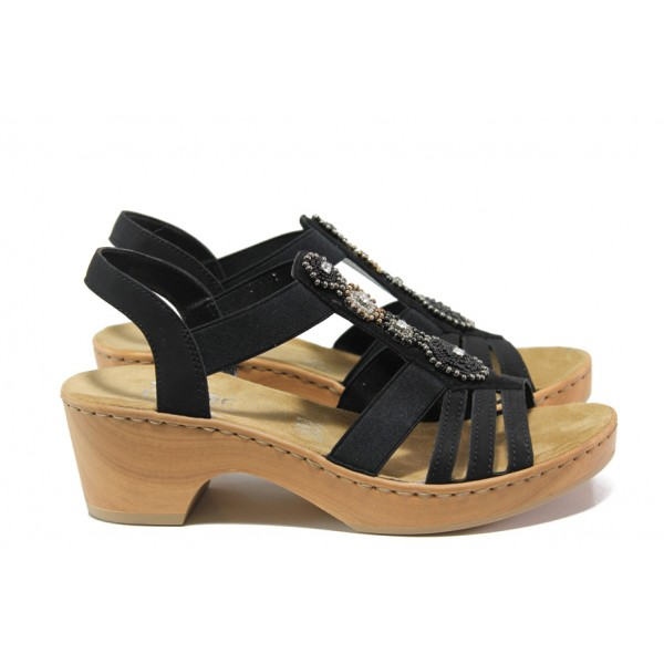 Комфортни дамски сандали Rieker V28S8-00 черен ANTISTRESS | Немски сандали на ток | MES.BG