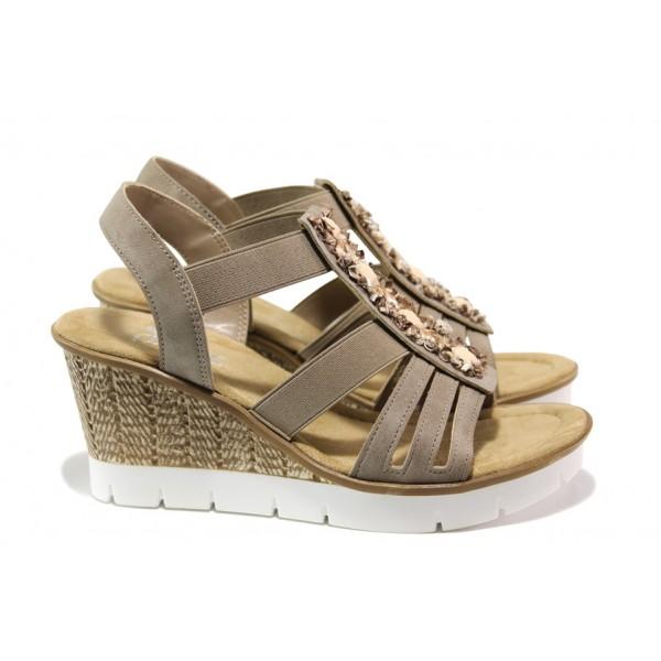Комфортни дамски сандали Rieker 65596-64 бежов ANTISTRESS | Немски сандали на платформа | MES.BG