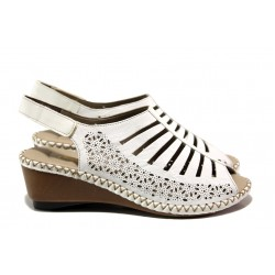 Дамски сандали от естествена кожа Rieker 66159-80 бял ANTISTRESS | Немски сандали на платформа | MES.BG
