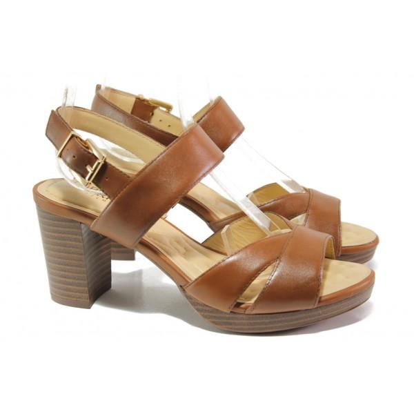 Анатомични дамски сандали от естествена кожа Caprice 9-28321-32 коняк | Немски сандали на ток | MES.BG