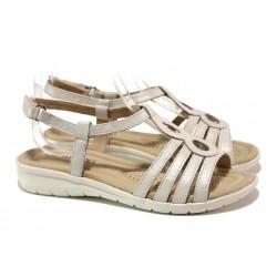 Анатомични дамски сандали от естествена кожа Caprice 9-28601-32 бял | Немски чехли и сандали | MES.BG