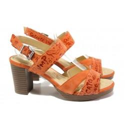 Анатомични дамски сандали от естествен велур Caprice 9-28321-32 оранжев | Немски сандали на ток | MES.BG