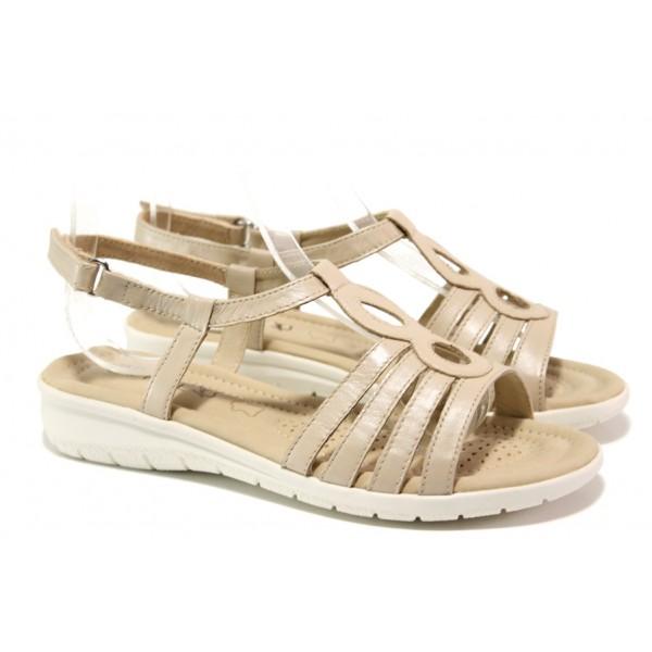 Анатомични дамски сандали от естествена кожа Caprice 9-28601-32 бежов | Немски чехли и сандали | MES.BG