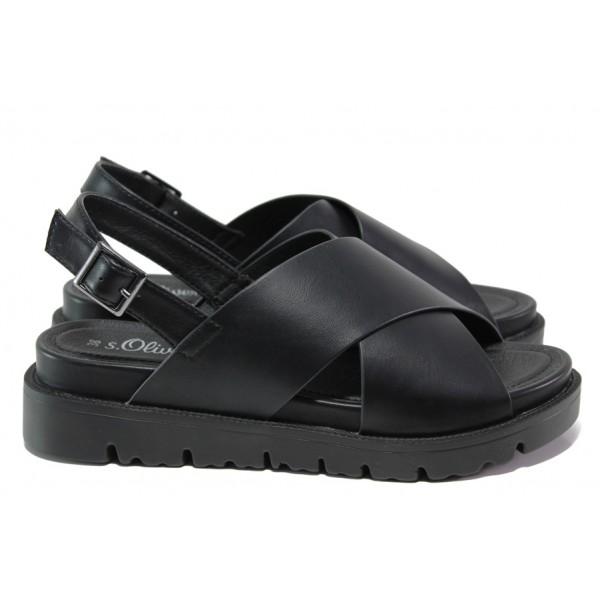 Комфортни дамски сандали S.Oliver 5-28316-22 черен | Немски чехли и сандали | MES.BG