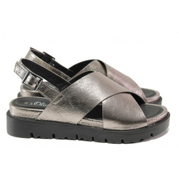 Комфортни дамски сандали S.Oliver 5-28316-22 сив | Немски чехли и сандали | MES.BG