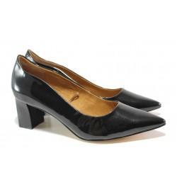 Дамски обувки от естествена кожа-лак Caprice 9-22404-23 черен лак | Немски обувки на среден ток | MES.BG