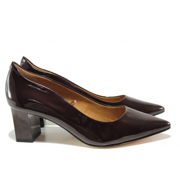 Дамски обувки от естествена кожа-лак Caprice 9-22404-23 бордо лак | Немски обувки на среден ток | MES.BG