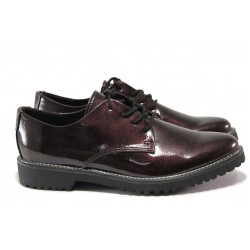 "Дамски обувки с ""мемори"" пяна Marco Tozzi 2-23712-33 бордо лак | Немски равни обувки | MES.BG"
