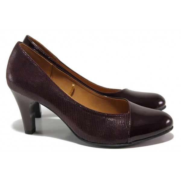 Дамски обувки от естествена кожа-лак Caprice 9-22400-23 бордо ANTISHOKK | Немски обувки на висок ток | MES.BG
