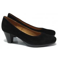 Дамски обувки от естествена кожа Caprice 9-22409-23 черен велур ANTISHOKK | Немски обувки на среден ток | MES.BG