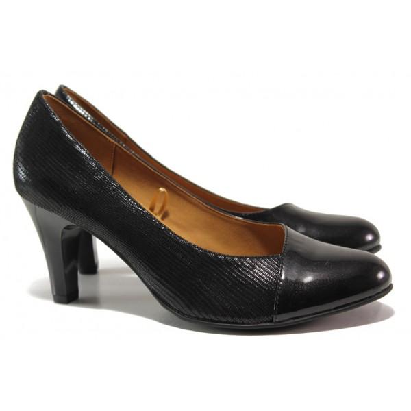 Дамски обувки от естествена кожа-лак Caprice 9-22400-23 черен ANTISHOKK | Немски обувки на висок ток | MES.BG