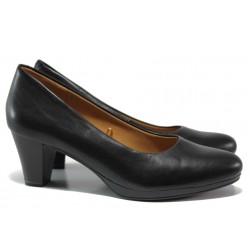Дамски обувки от естествена кожа Caprice 9-22409-23 черен кожа ANTISHOKK | Немски обувки на среден ток | MES.BG