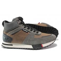 Мъжки спортни боти - тип кец от естествена кожа S.Oliver 5-15221-23 кафяв | Немски мъжки обувки | MES.BG
