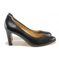 Дамски обувки от естествена кожа Caprice 9-22401-23G черен | Немски обувки на ток | MES.BG