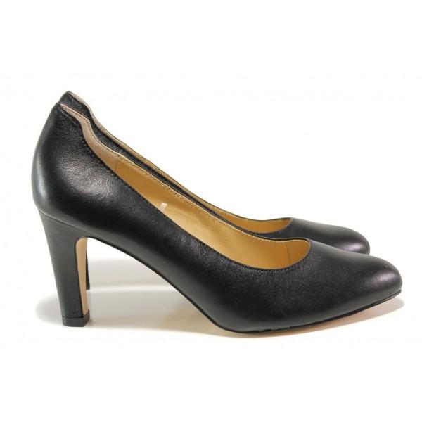 Дамски обувки от естествена кожа Caprice 9-22401-23G черен   Немски обувки на ток   MES.BG