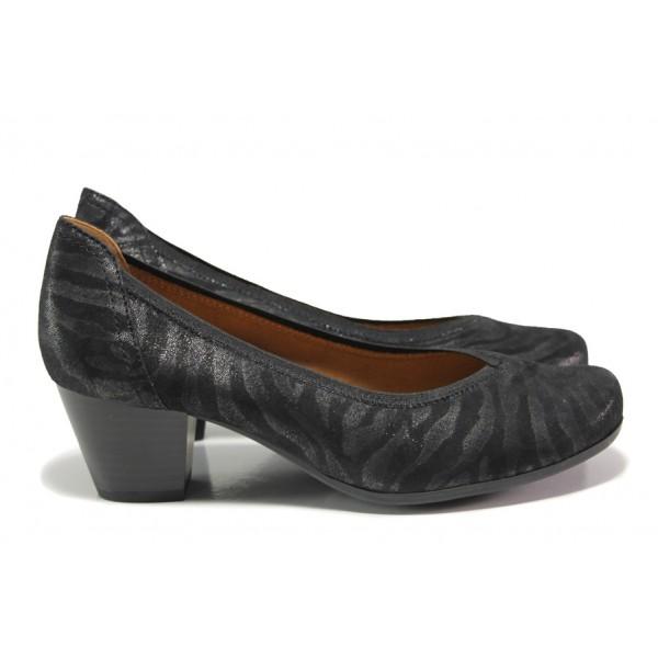 Дамски обувки от естествен набук Caprice 9-22304-23H черен зебра | Немски обувки на ток | MES.BG