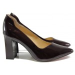 Дамски обувки от естествена кожа-лак Caprice 9-22408-23 бордо лак | Немски обувки на ток | MES.BG