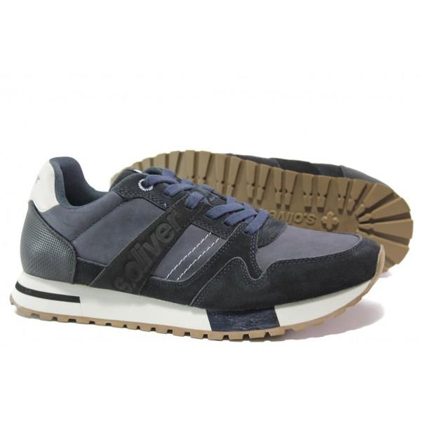 Мъжки маратонки с естествен велур-кожа S.Oliver 5-13610-23 т.син | Мъжки немски обувки | MES.BG