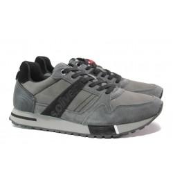 Мъжки маратонки с естествен велур-кожа S.Oliver 5-13610-23 сив | Мъжки немски обувки | MES.BG