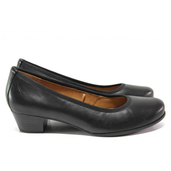 Дамски обувки от естествена кожа Caprice 9-22300-23H черен | Немски обувки на среден ток | MES.BG