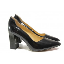 Дамски обувки от естествена кожа-лак Caprice 9-22408-23G черен | Немски обувки на ток | MES.BG