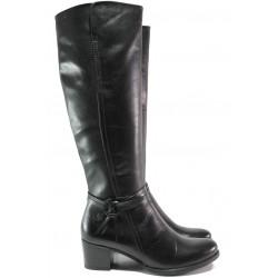 Дамски ботуши от естествена кожа Caprice 9-25517-23 черен | Немски ботуши на ток | MES.BG